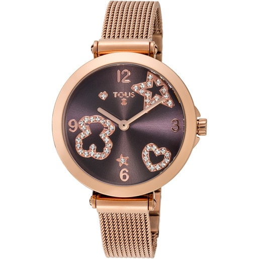 Pink IP Steel Icon Mesh Watch with Crystals