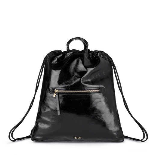 Black Leather Tulia Crack Backpack