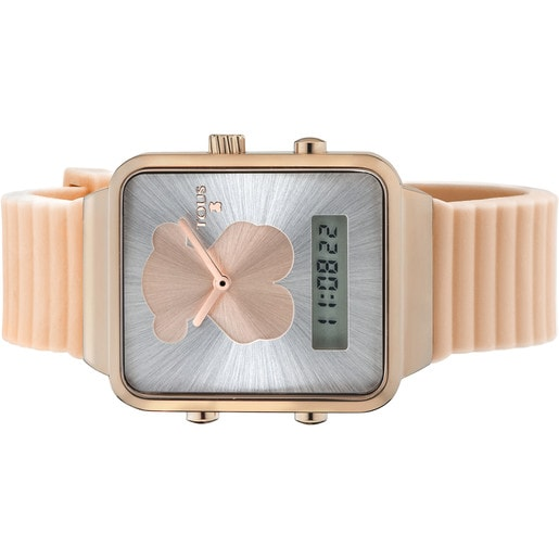Pink IP Steel I-Bear Digital watch with green Silicone strap