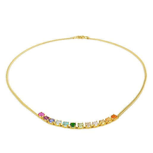 Gold Mix Color Necklace with Gemstones