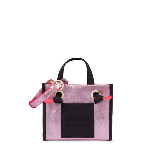 Small pink Amaya Tweed shopping bag