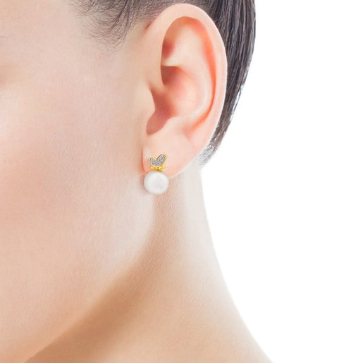 TOUS Bera Earrings in Gold with Pearl and Diamonds.