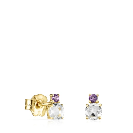 Mini Ivette Earrings in Gold with Prasiolite and Amethyst