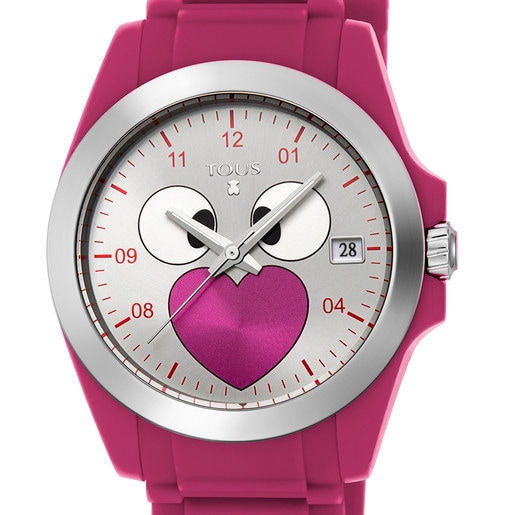 Steel Drive Fun Face Watch with fuchsia Silicone strap