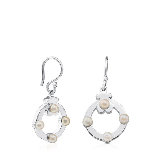 Silver Super Power Earrings with Pearls