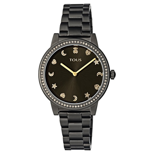 Gold-colored IP Steel Nocturne Watch with bezel with cubic zirconia stones