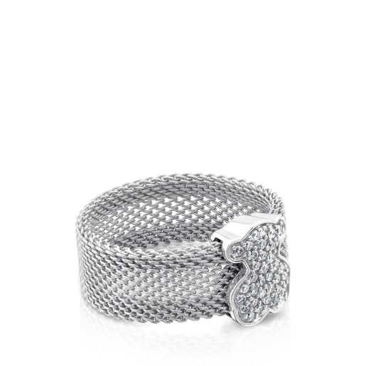 Steel and White gold Icon Mesh Ring with Diamonds