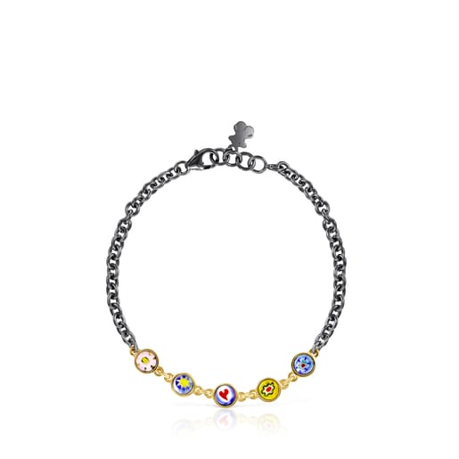 Minifiore Bracelet in Silver Vermeil, Dark Silver and Murano Glass