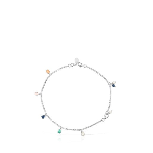 Mini Color Bracelet in Silver with Gemstones and Pearl