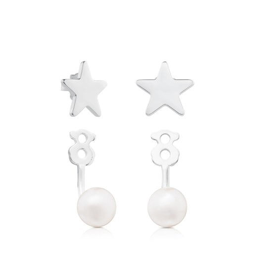Silver TOUS Pearl Earrings Extension with Pearl