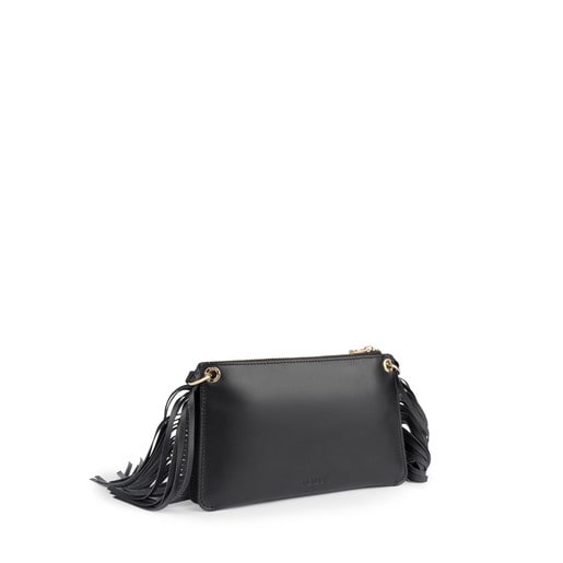 Black leather New Liz Fringes crossbody bag