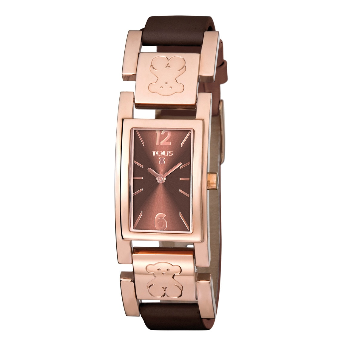 Pink IP Steel Plate Watch with brown Leather strap
