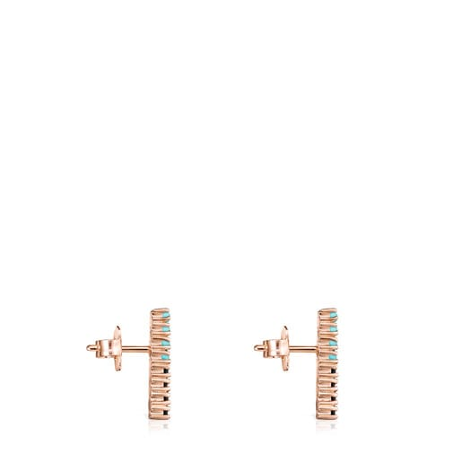 Straight large disc Earrings in Rose Silver Vermeil with Gemstones