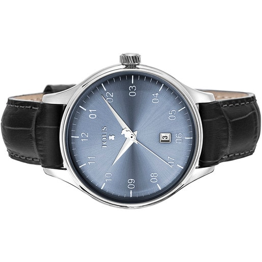 Steel 1920 Watch with black Leather strap