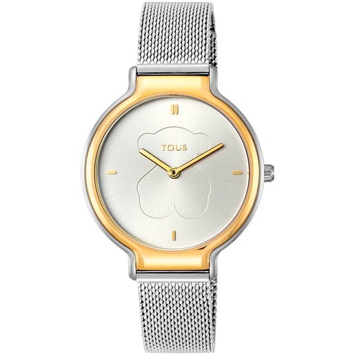 Two-tone Gold-colored IP/Steel Real Bear Watch with Mesh strap