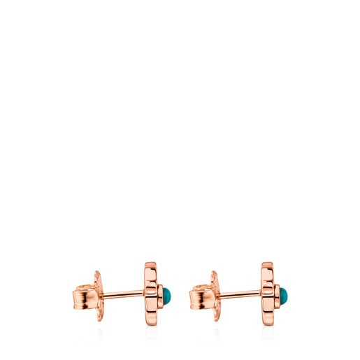 Rose Vermeil Silver Super Power Earrings with Turquoise
