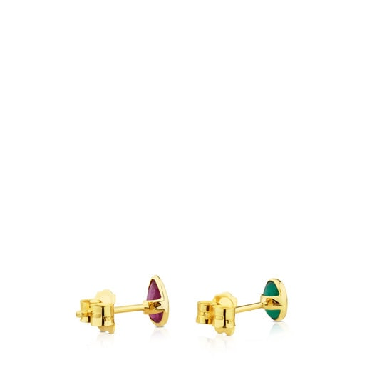Gold Gem Power Earrings with Ruby and green Agate