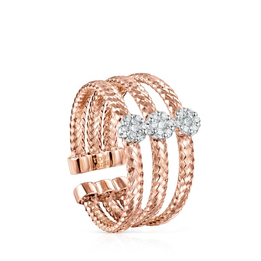 Light triple ring in Rose Gold with Diamonds