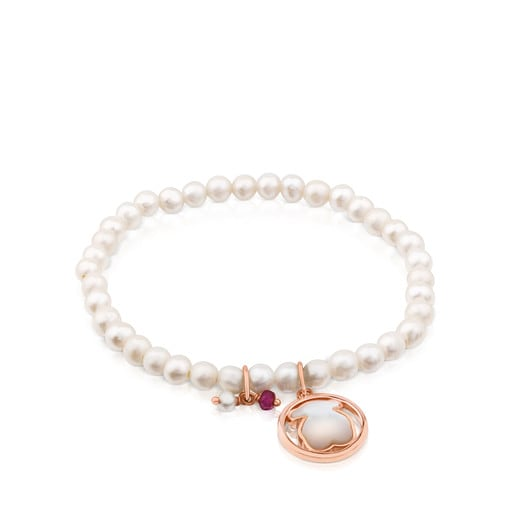 Rose Vermeil Silver Camille Bracelet with Pearls, Mother-of-Pearl and Ruby