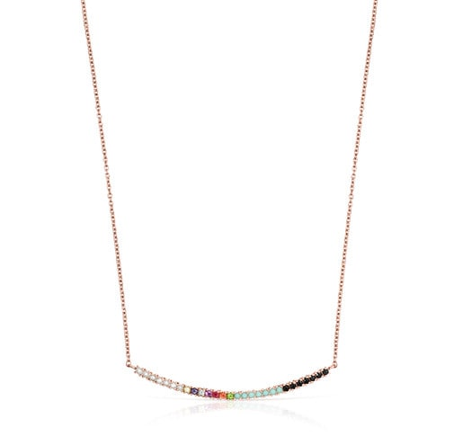 Straight Necklace in Rose Silver Vermeil with Gemstones