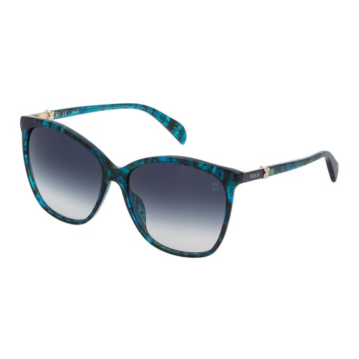 Blue Acetate Classic Gold Bear Sunglasses