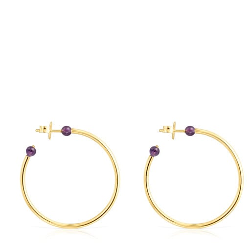 Large Batala Earrings in Silver Vermeil with Amethyst