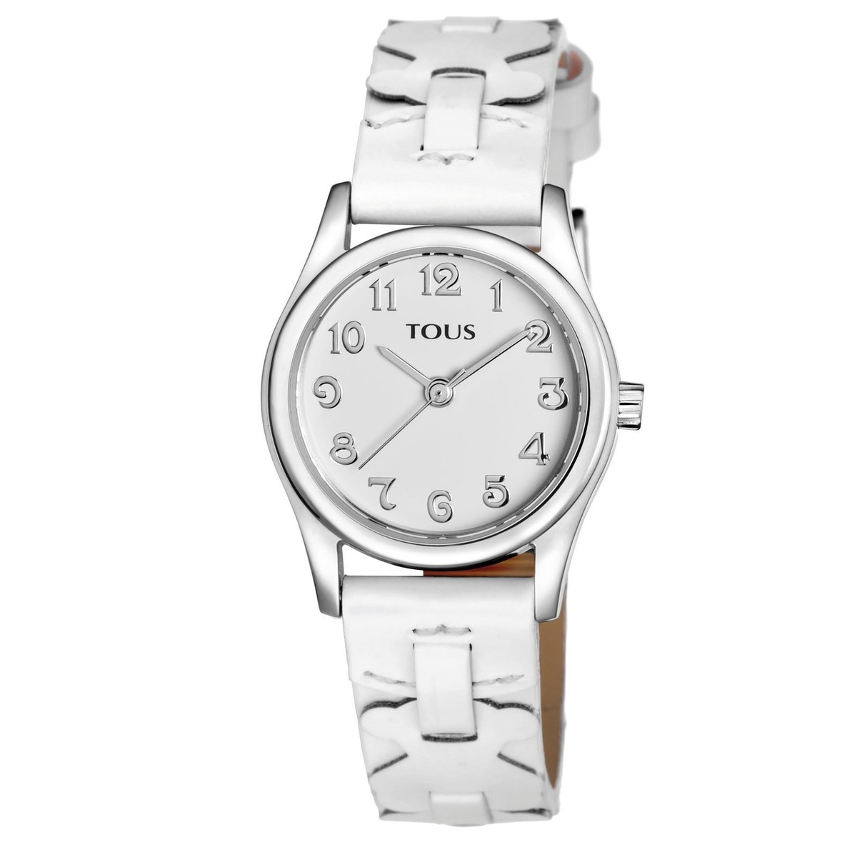 Steel Cruise Watch with white Leather strap