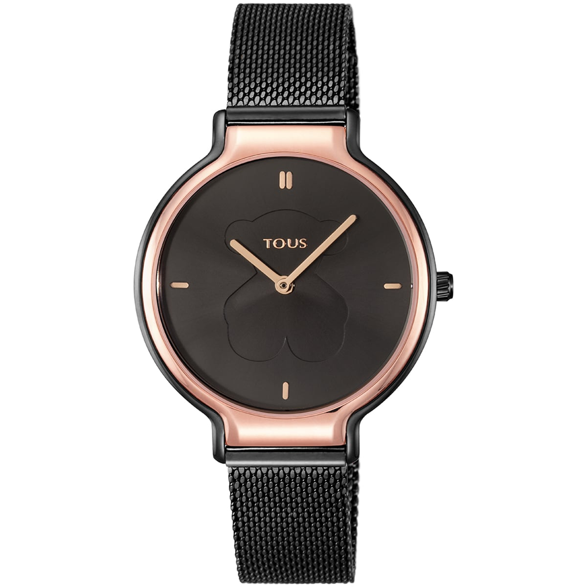 Two-tone Rose IP/Black IP Steel Real Bear Watch with Mesh strap