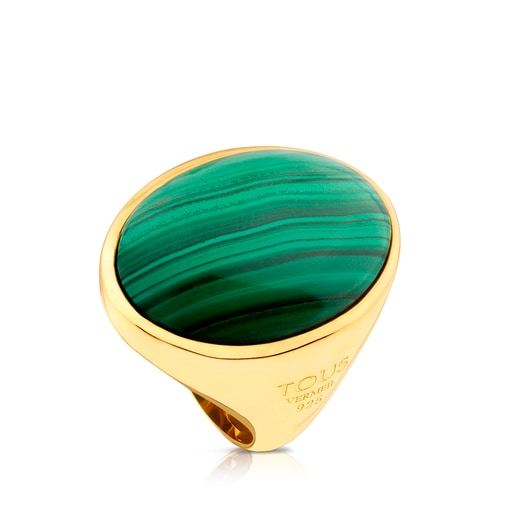 Vermeil Silver Camee Ring with Malachite