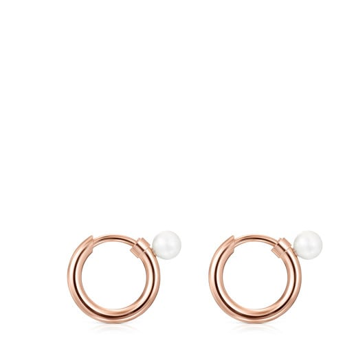 TOUS small Basics Earrings in Rose Silver Vermeil with Pearl