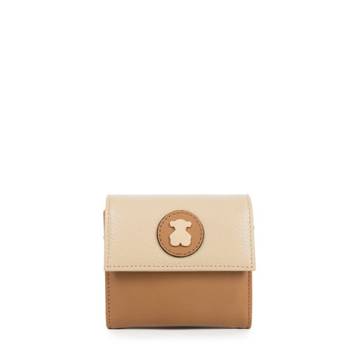 Small leather-beige colored Leather Rose Bear Wallet