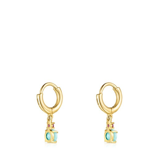 Mini Ivette short Earrings in Gold with Amazonite and Ruby