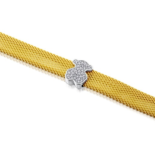 Bracelet Icon Mesh en or avec diamants