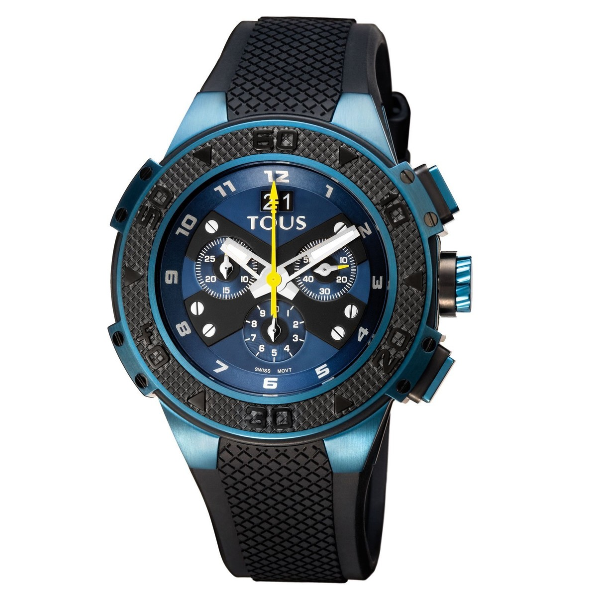 Two-tone blue/black IP Steel Xtous Watch with black Silicone strap