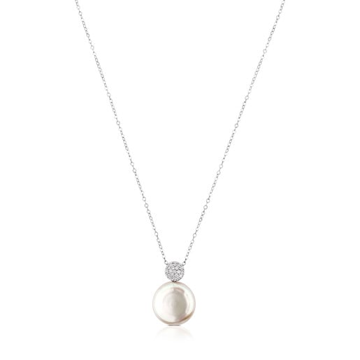 White Gold Alecia Necklace with Diamond and Pearl