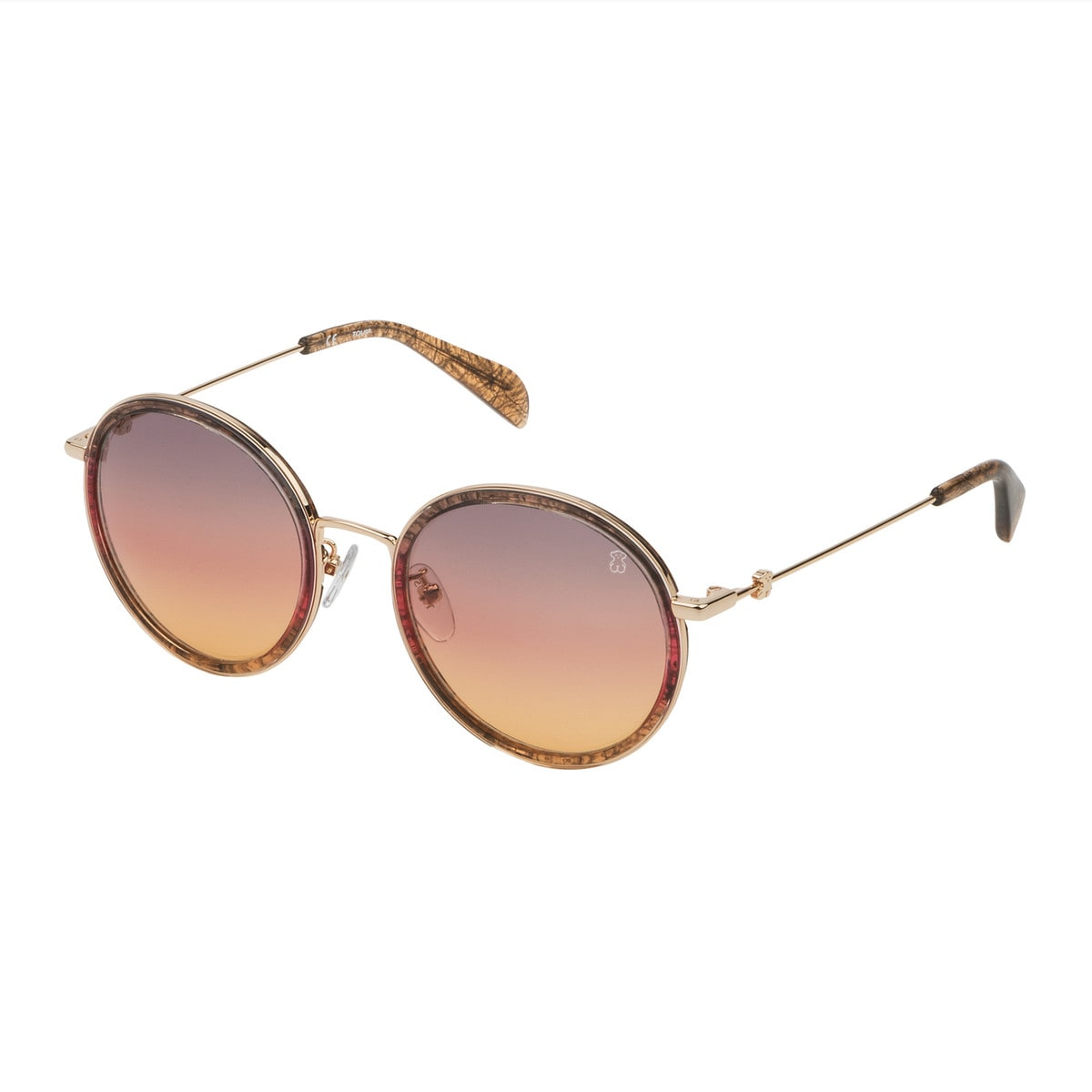 Brown Metal and Acetate Sunset Sunglasses