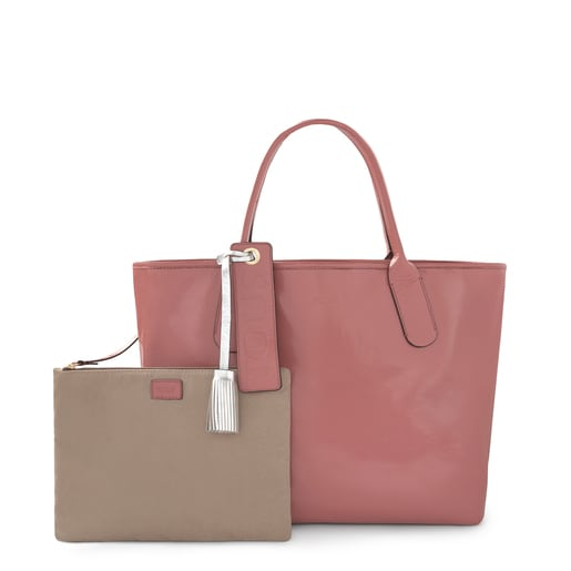 Sac cabas Francine Crack antique rose en cuir