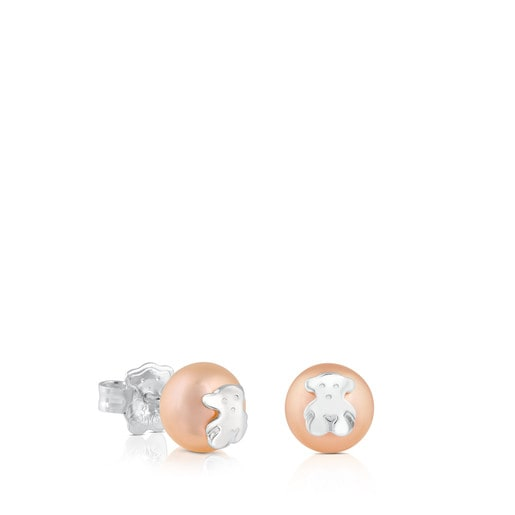 Silver TOUS Bear Earrings with Pearl