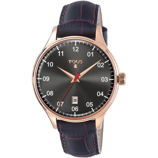 Pink IP Steel Grafito Watch with brown Leather strap