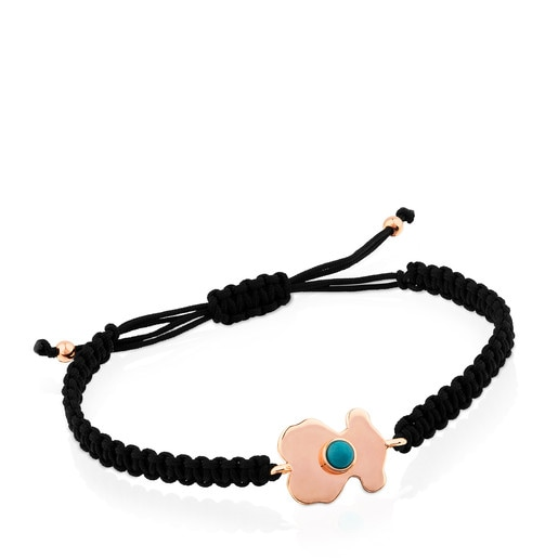 Rose Vermeil Silver Super Power Bracelet with Cord and Turquoise