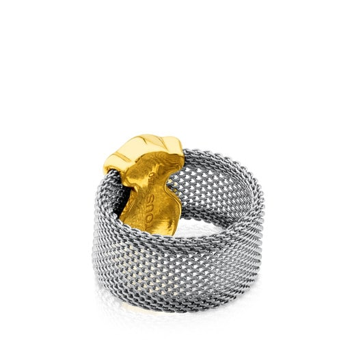 Gold and Steel Mesh Ring