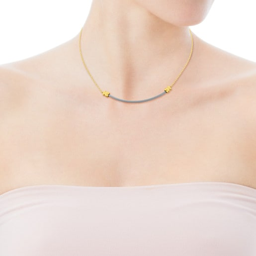 Steel and Gold Icon Mesh Necklace