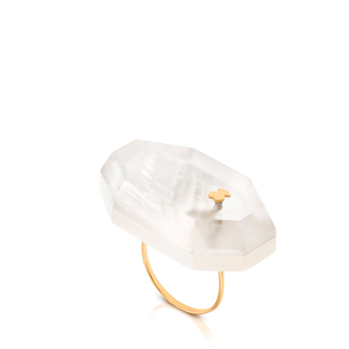 Gold Mawe Ring with Quartz and Mother and Pearl