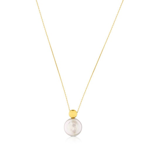 Alecia Necklace in Gold with Pearl.