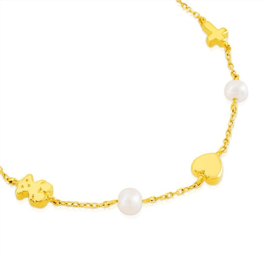 Gold Sweet Dolls XXS Bracelet with pearls and Bear, Star, Heart and Cross motifs..