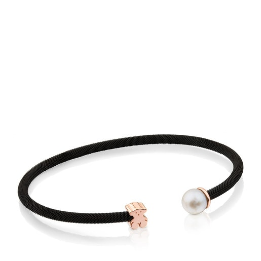 Steel and Rose Vermeil Silver Icon Mesh Bracelet with Pearl