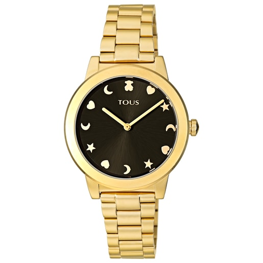 Gold-colored IP Steel Nocturne Watch with black dial