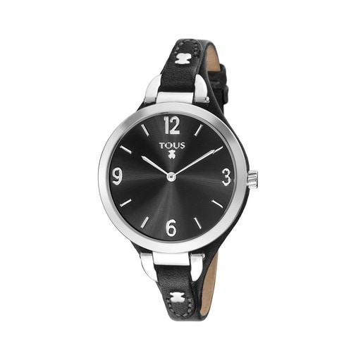 Steel Bohème Watch with black Leather strap