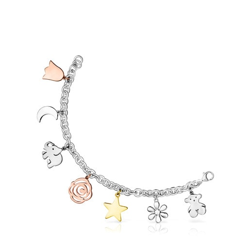 Silver Sweet Dolls Bracelet with Silver Vermeil, Rose Silver Vermeil and Dark Silver