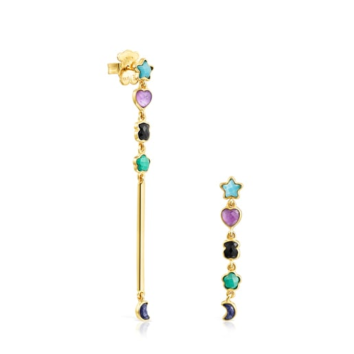 Long Glory Earrings in Gold Vermeil with Gemstones